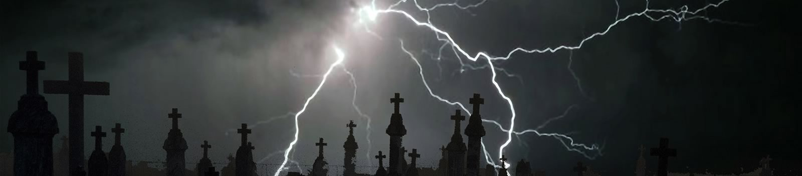 Professional photograph of lightning striking in a cemetery.